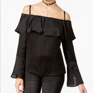BCX Off The Shoulder Satin Ruffle Top